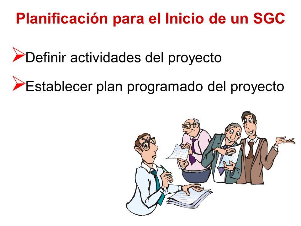 Preparación para el Inicio de un SGC Evaluar situación actual (diagnóstico) Definir objetivos del proyecto Escoger Director del Proyecto Escoger Equip