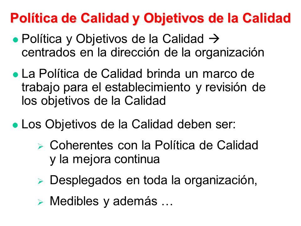 Política de la Calidad Intenciones globales y orientación de una organización relativos a la calidad, expresados formalmente por su alta dirección Not