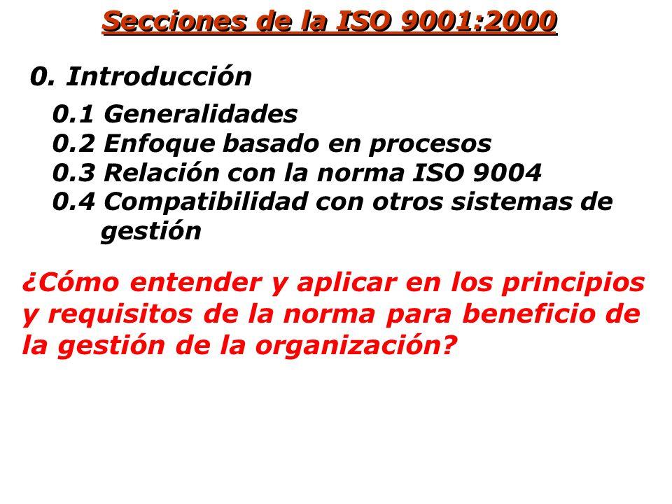 Secciones de la ISO 9001:2000 1.¿Qué procesos están involucrados en el sistema para gestionar la calidad? 2. ¿Cuáles otras normas son aplicables? 3. A