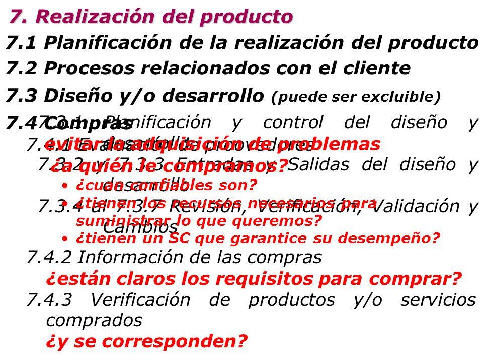 7.1 Planificación de la realización del producto 7.2 Procesos relacionados con el cliente 7. Realización del producto 7.2.1 Determinación de los requi