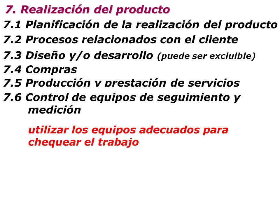7.1 Planificación de la realización del producto 7.2 Procesos relacionados con el cliente 7. Realización del producto 7.3 Diseño y/o desarrollo (puede