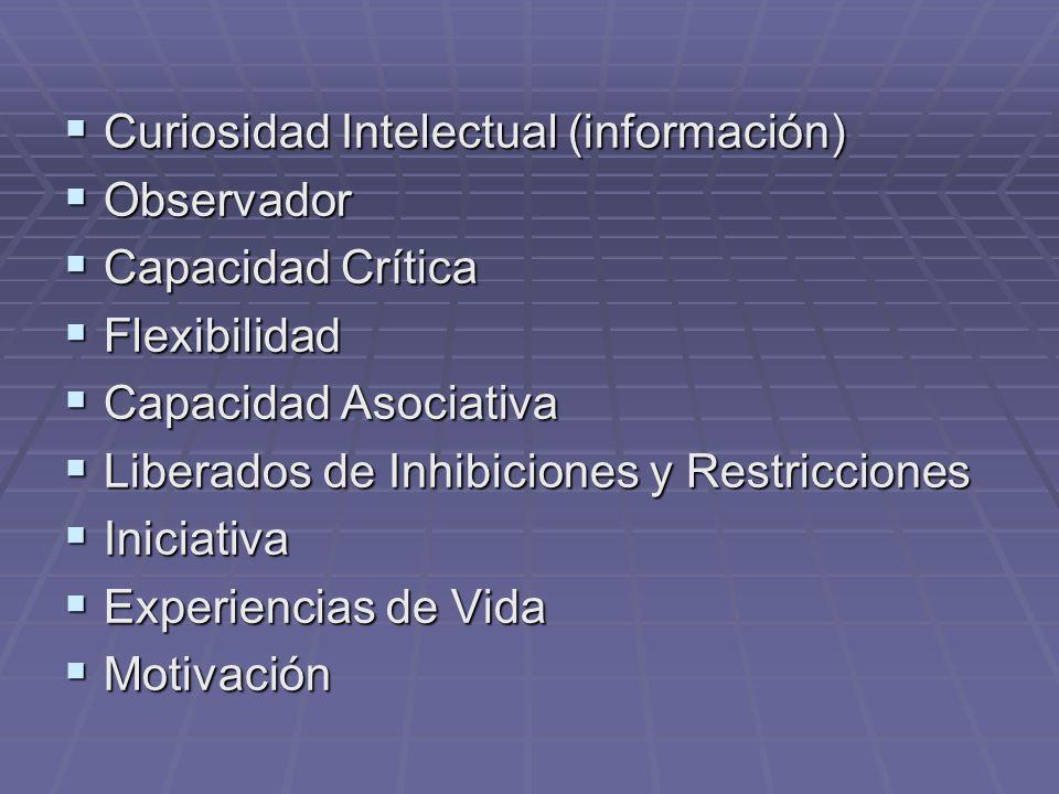 Curiosidad Intelectual (información) Curiosidad Intelectual (información) Observador Observador Capacidad Crítica Capacidad Crítica Flexibilidad Flexi
