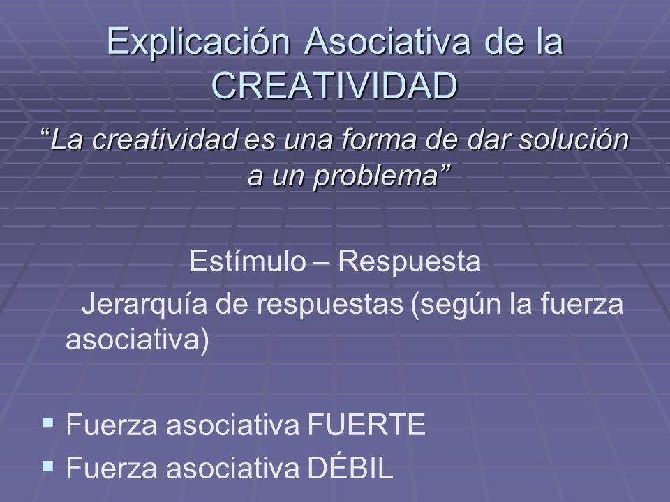 Explicación Asociativa de la CREATIVIDAD La creatividad es una forma de dar solución a un problemaLa creatividad es una forma de dar solución a un pro