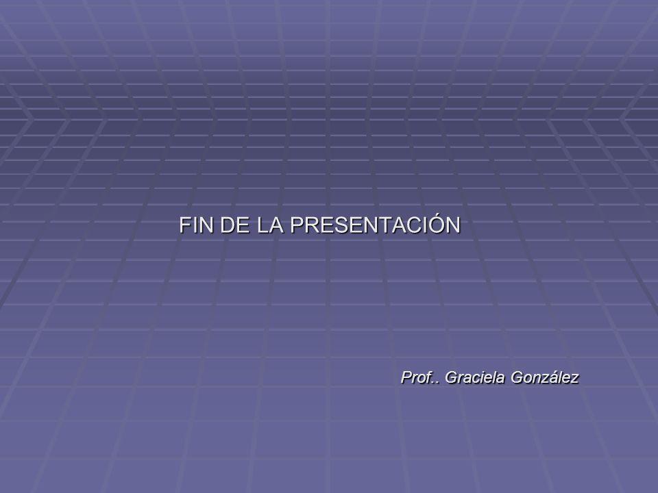 FIN DE LA PRESENTACIÓN FIN DE LA PRESENTACIÓN Prof.. Graciela González Prof.. Graciela González