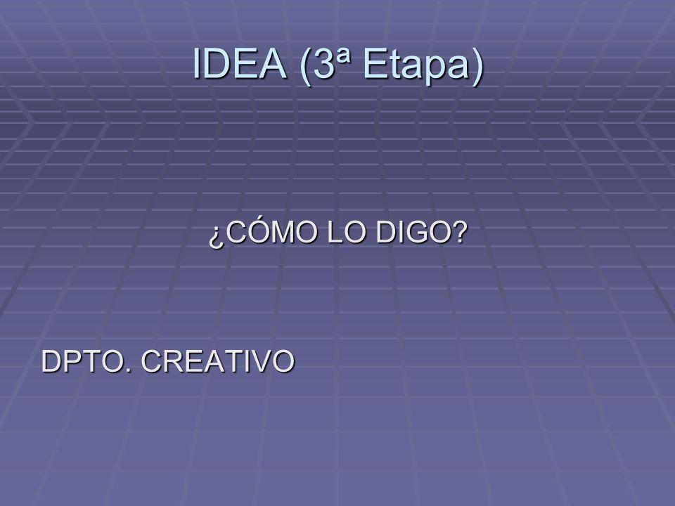 IDEA (3ª Etapa) ¿CÓMO LO DIGO? ¿CÓMO LO DIGO? DPTO. CREATIVO