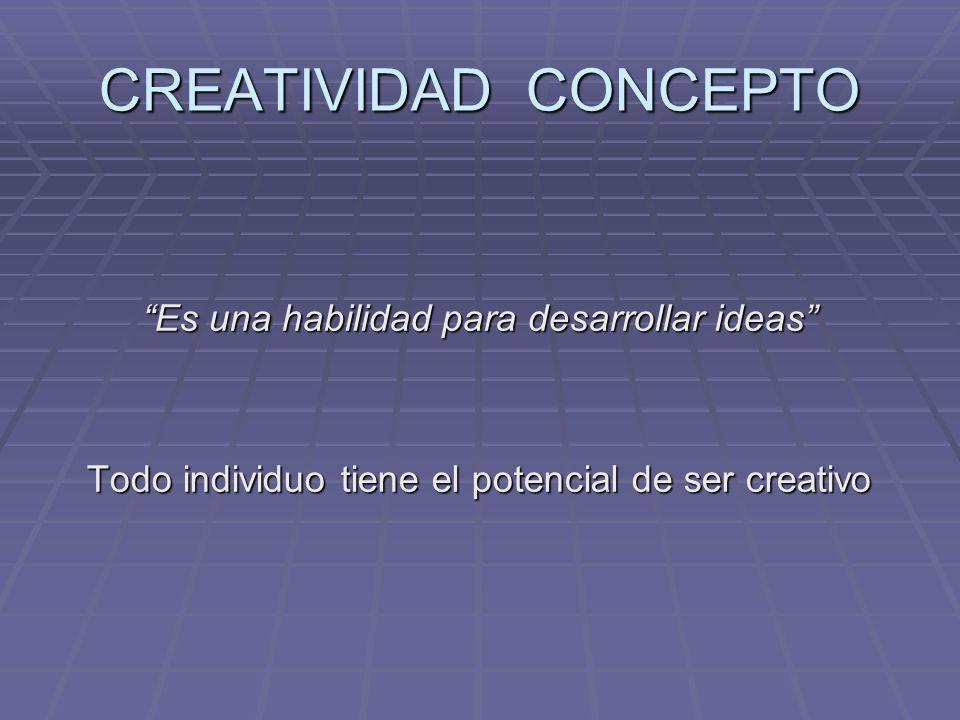 CREATIVIDAD CONCEPTO Es una habilidad para desarrollar ideas Todo individuo tiene el potencial de ser creativo