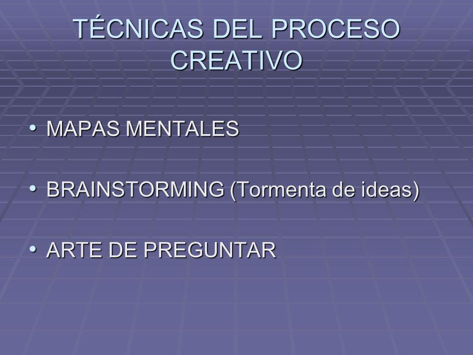 TÉCNICAS DEL PROCESO CREATIVO MAPAS MENTALES MAPAS MENTALES BRAINSTORMING (Tormenta de ideas) BRAINSTORMING (Tormenta de ideas) ARTE DE PREGUNTAR ARTE