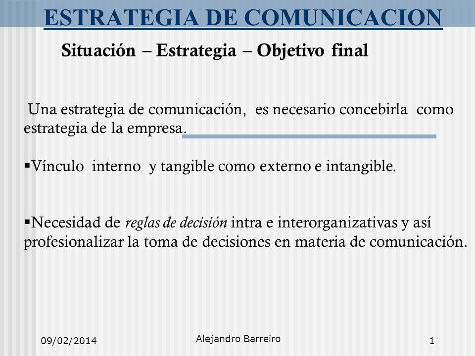09/02/2014 Alejandro Barreiro 1 ESTRATEGIA DE COMUNICACION Situación – Estrategia – Objetivo final Una estrategia de comunicación, es necesario conceb