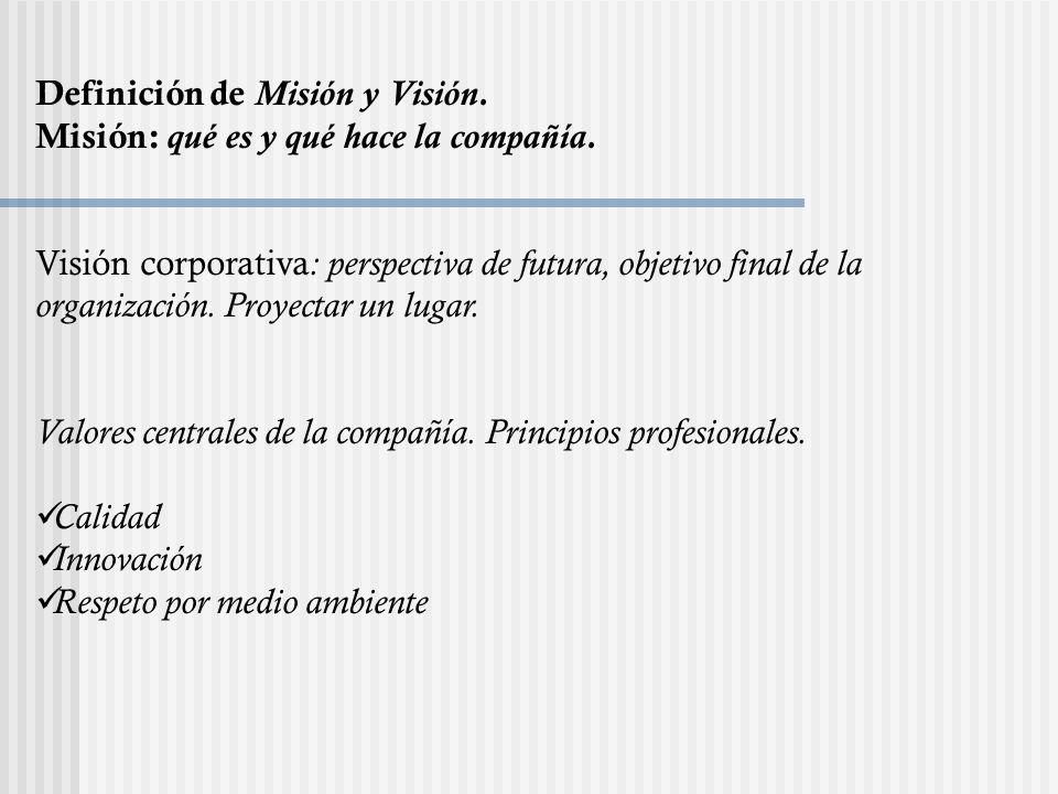 Definición de Misión y Visión. Misión: qué es y qué hace la compañía. Visión corporativa : perspectiva de futura, objetivo final de la organización. P