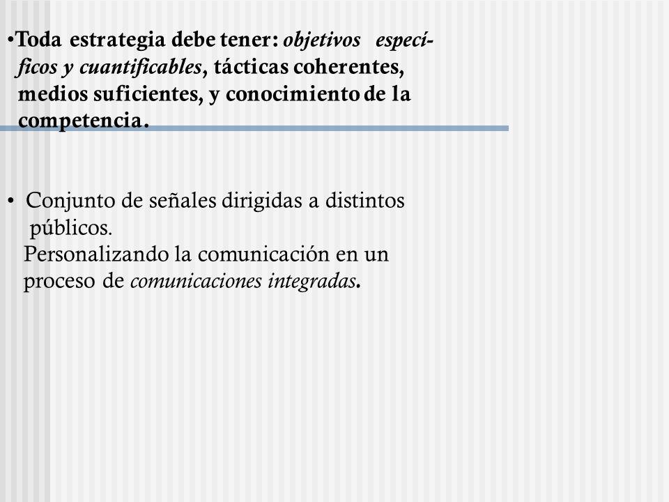 Toda estrategia debe tener: objetivos especí- ficos y cuantificables, tácticas coherentes, medios suficientes, y conocimiento de la competencia. Conju