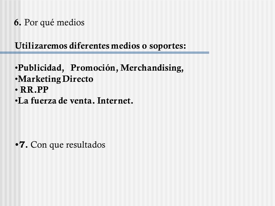 Utilizaremos diferentes medios o soportes: Publicidad, Promoción, Merchandising, Marketing Directo RR.PP La fuerza de venta. Internet. 7. Con que resu