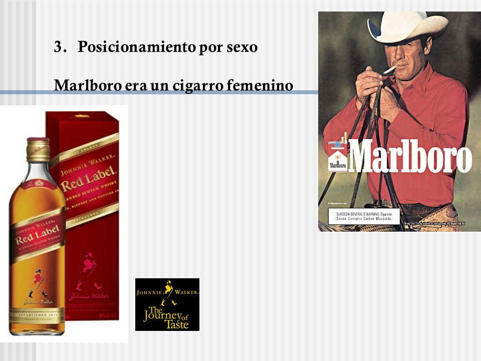 3.Posicionamiento por sexo Marlboro era un cigarro femenino
