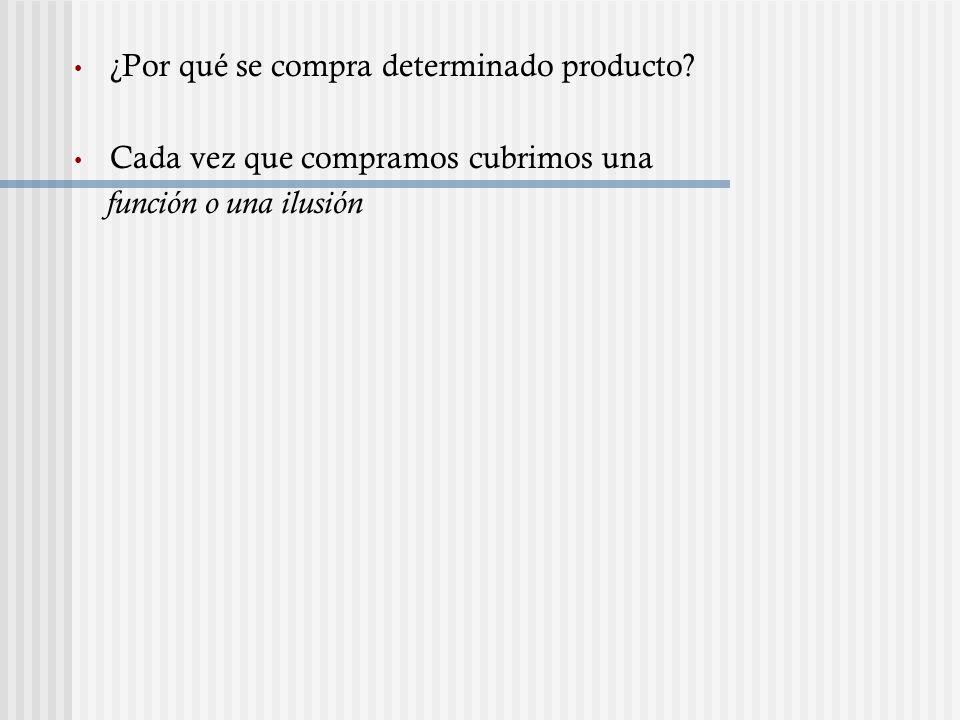 ¿Por qué se compra determinado producto? Cada vez que compramos cubrimos una función o una ilusión