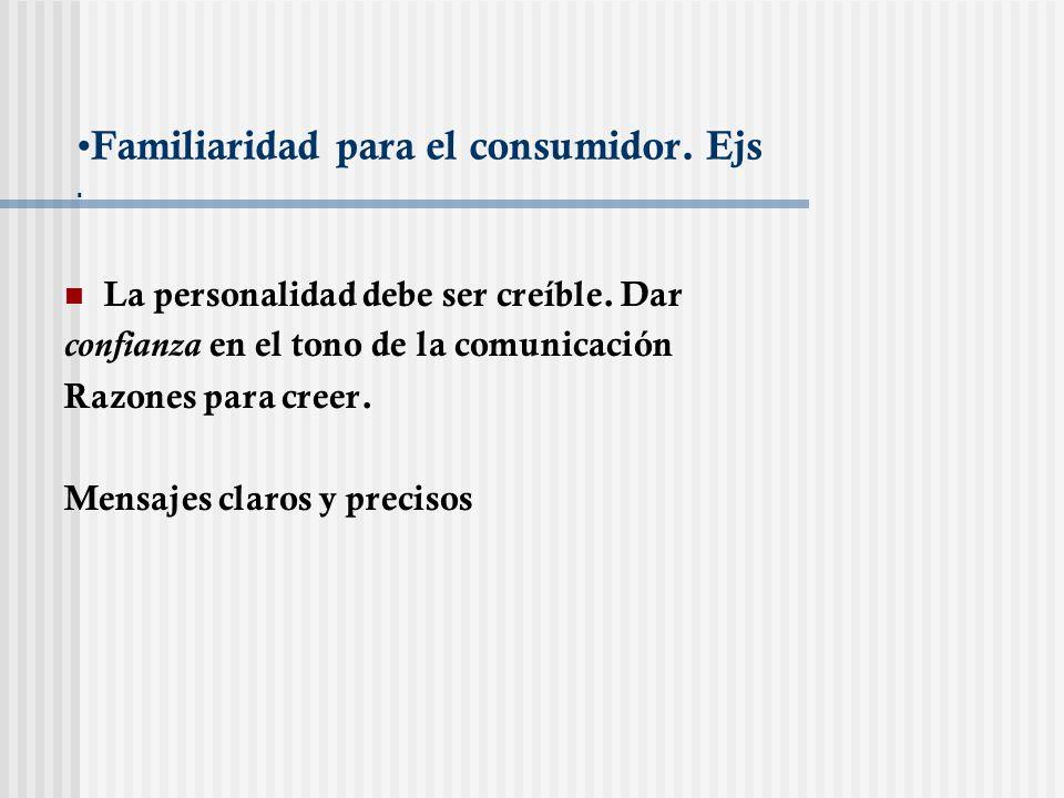 Familiaridad para el consumidor. Ejs. La personalidad debe ser creíble. Dar confianza en el tono de la comunicación Razones para creer. Mensajes claro