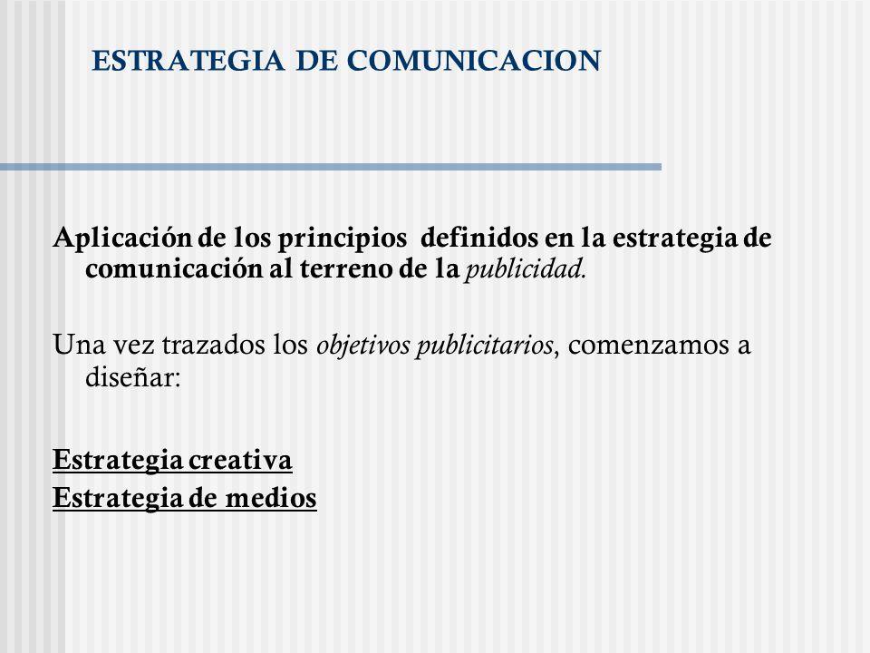 ESTRATEGIA DE COMUNICACION Aplicación de los principios definidos en la estrategia de comunicación al terreno de la publicidad. Una vez trazados los o