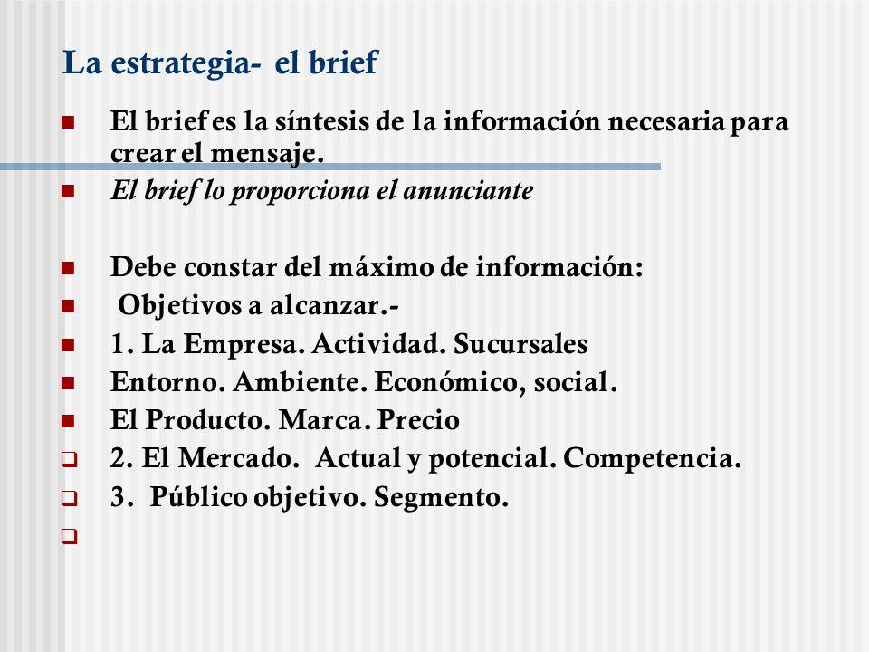 La estrategia- el brief El brief es la síntesis de la información necesaria para crear el mensaje. El brief lo proporciona el anunciante Debe constar