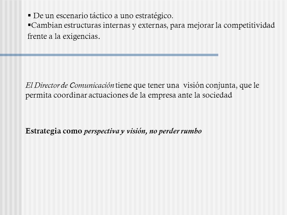 El pensamiento estratégico La comunicación empresarial, bien gestionada como una acción práctica, no puede ser sino estratégica.