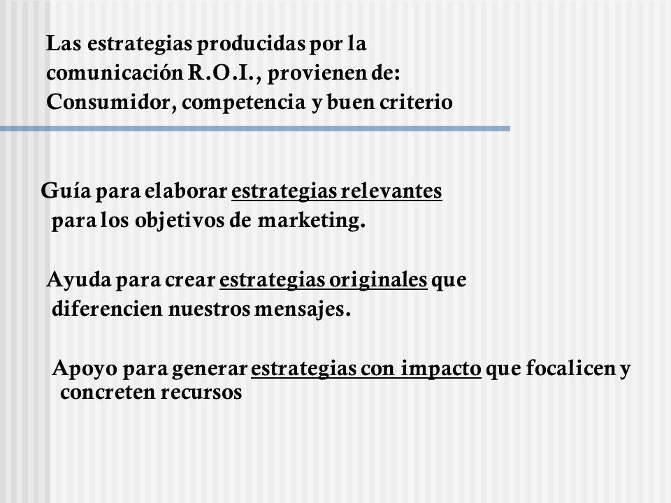 Las estrategias producidas por la comunicación R.O.I., provienen de: Consumidor, competencia y buen criterio Guía para elaborar estrategias relevantes