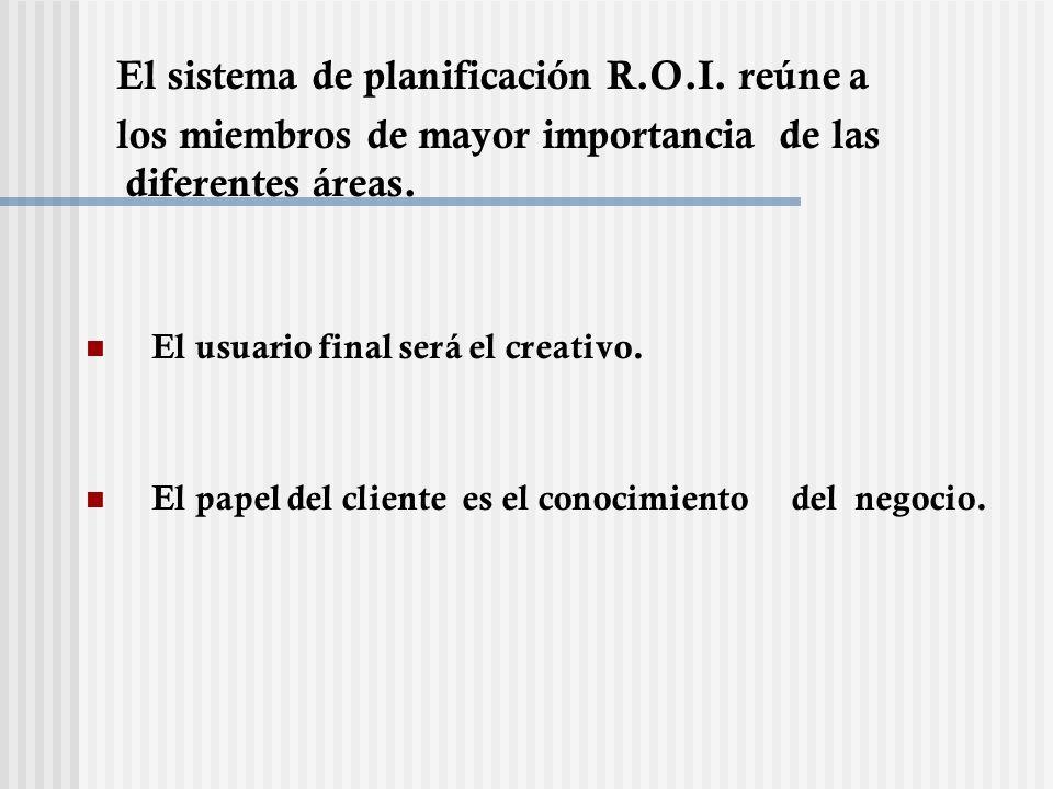 El sistema de planificación R.O.I. reúne a los miembros de mayor importancia de las diferentes áreas. El usuario final será el creativo. El papel del