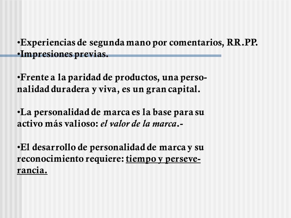 Experiencias de segunda mano por comentarios, RR.PP. Impresiones previas. Frente a la paridad de productos, una perso- nalidad duradera y viva, es un