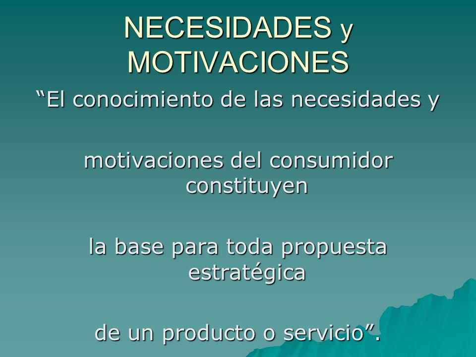 NECESIDADES y MOTIVACIONES El conocimiento de las necesidades y motivaciones del consumidor constituyen la base para toda propuesta estratégica de un