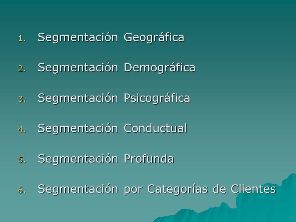 1. Segmentación Geográfica 2. Segmentación Demográfica 3. Segmentación Psicográfica 4. Segmentación Conductual 5. Segmentación Profunda 6. Segmentació