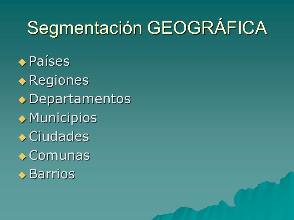 Segmentación GEOGRÁFICA Países Países Regiones Regiones Departamentos Departamentos Municipios Municipios Ciudades Ciudades Comunas Comunas Barrios Ba