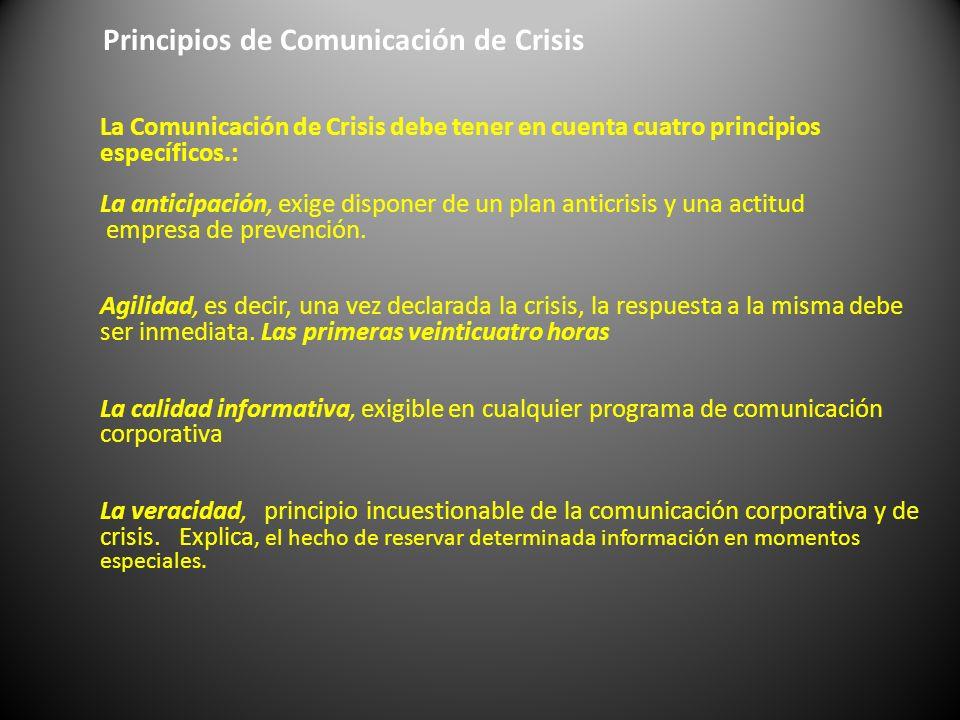Principios de Comunicación de Crisis La Comunicación de Crisis debe tener en cuenta cuatro principios específicos.: La anticipación, exige disponer de
