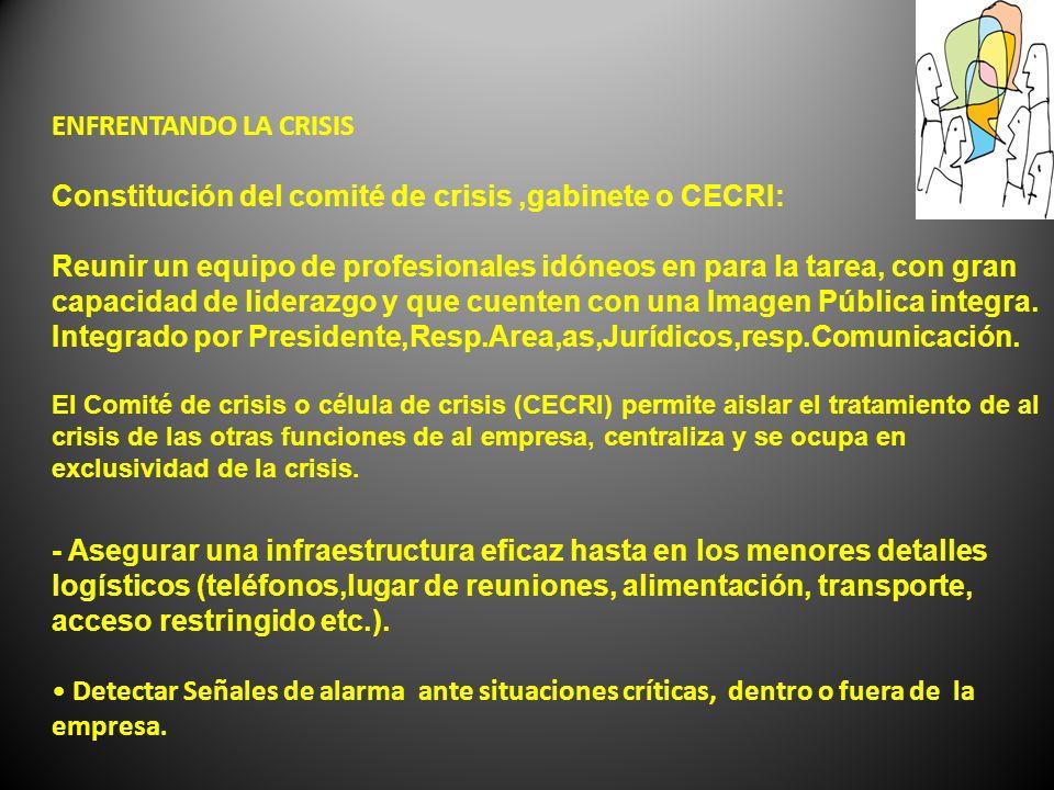 ENFRENTANDO LA CRISIS Constitución del comité de crisis,gabinete o CECRI: Reunir un equipo de profesionales idóneos en para la tarea, con gran capacid
