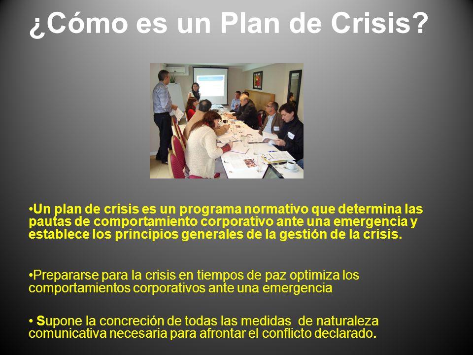 ¿Cómo es un Plan de Crisis? Un plan de crisis es un programa normativo que determina las pautas de comportamiento corporativo ante una emergencia y es