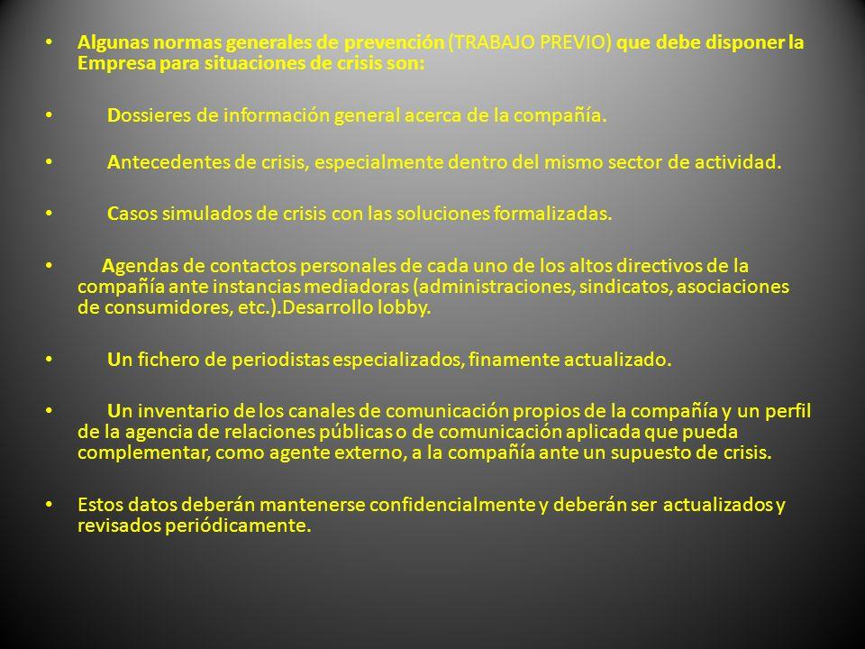 Algunas normas generales de prevención (TRABAJO PREVIO) que debe disponer la Empresa para situaciones de crisis son: Dossieres de información general