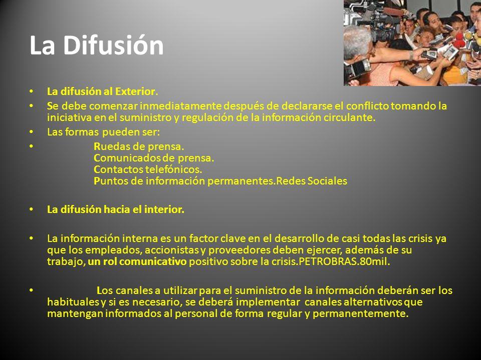 La Difusión La difusión al Exterior. Se debe comenzar inmediatamente después de declararse el conflicto tomando la iniciativa en el suministro y regul