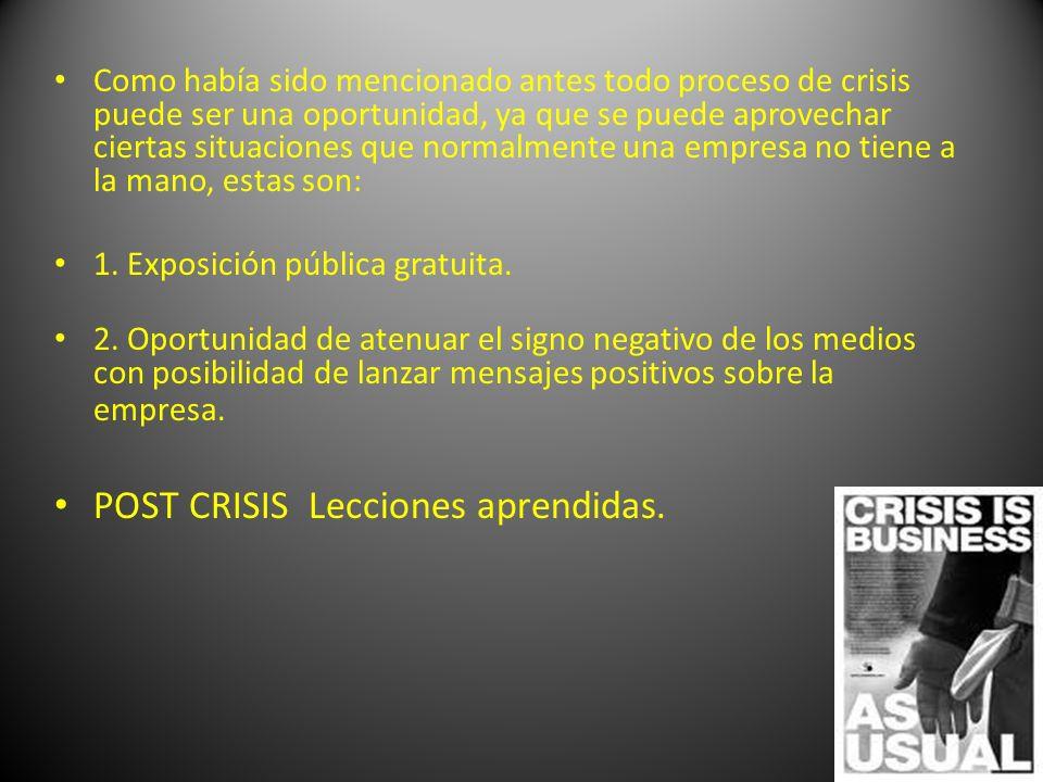 Como había sido mencionado antes todo proceso de crisis puede ser una oportunidad, ya que se puede aprovechar ciertas situaciones que normalmente una