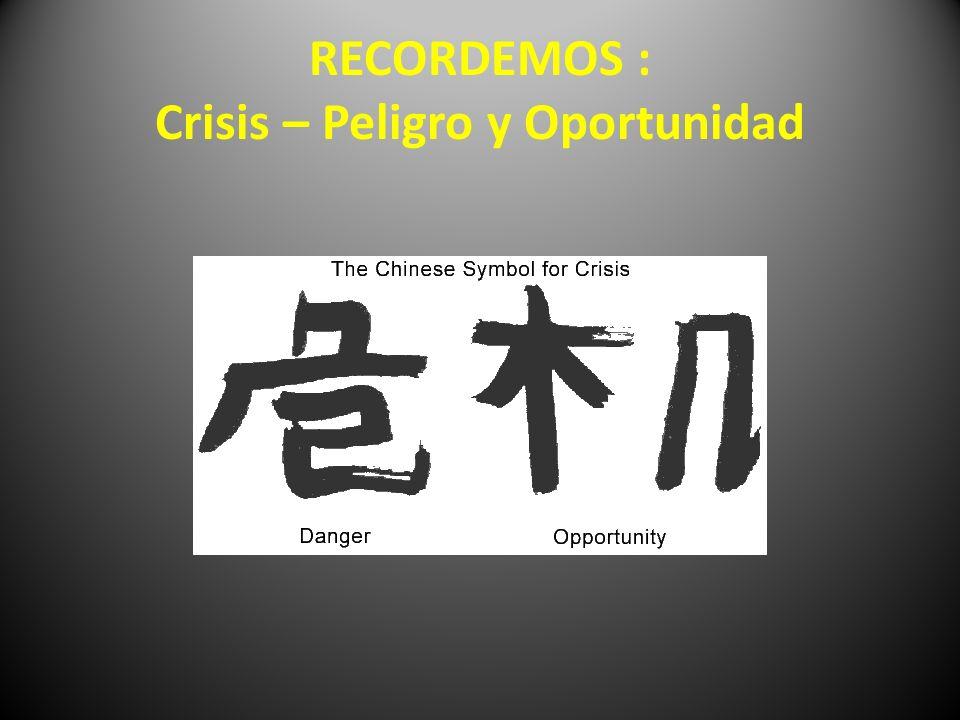 RECORDEMOS : Crisis – Peligro y Oportunidad