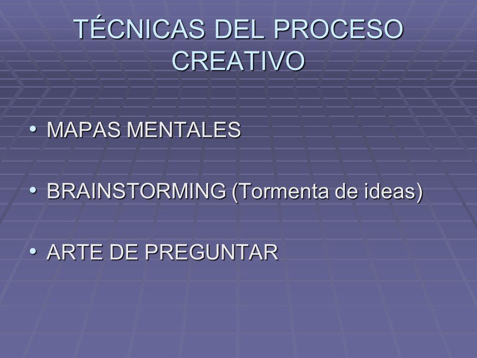 TÉCNICAS DEL PROCESO CREATIVO MAPAS MENTALES MAPAS MENTALES BRAINSTORMING (Tormenta de ideas) BRAINSTORMING (Tormenta de ideas) ARTE DE PREGUNTAR ARTE DE PREGUNTAR