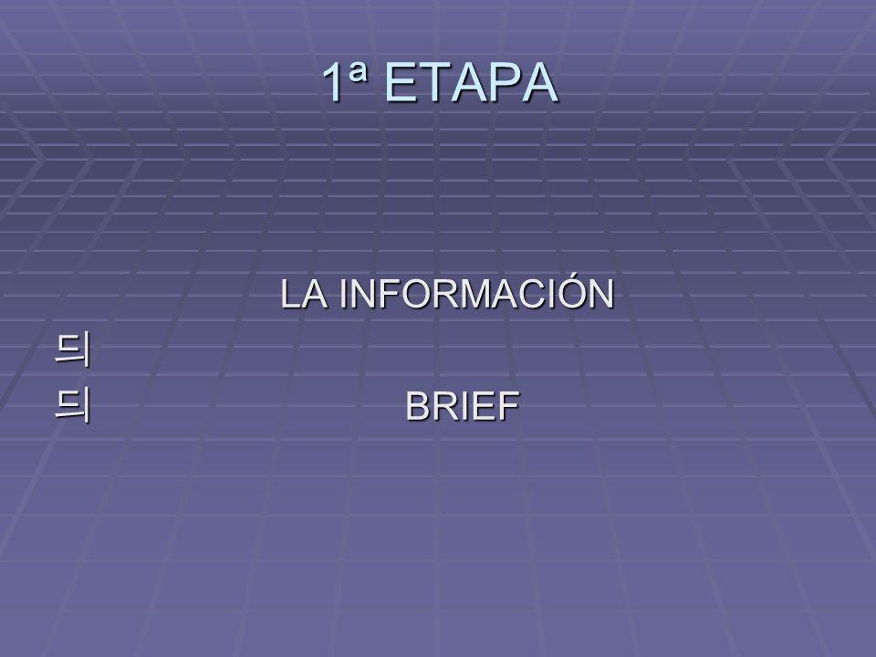 1ª ETAPA LA INFORMACIÓN LA INFORMACIÓN BRIEF BRIEF