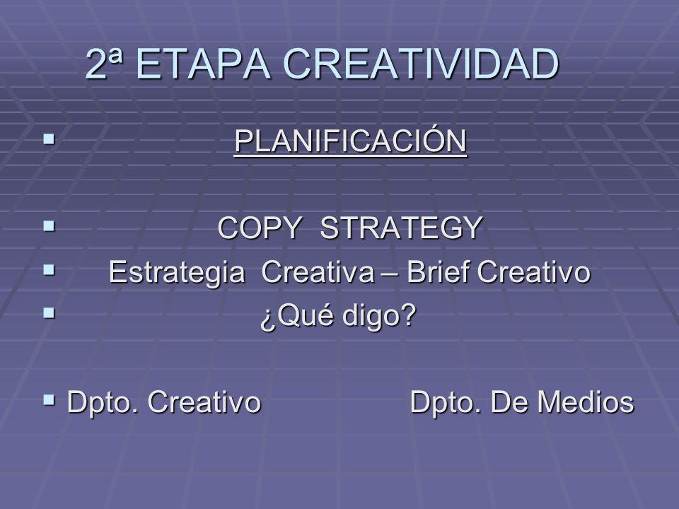 2ª ETAPA CREATIVIDAD PLANIFICACIÓN PLANIFICACIÓN COPY STRATEGY COPY STRATEGY Estrategia Creativa – Brief Creativo Estrategia Creativa – Brief Creativo ¿Qué digo.