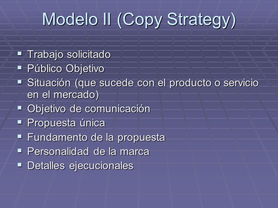 Modelo II (Copy Strategy) Trabajo solicitado Trabajo solicitado Público Objetivo Público Objetivo Situación (que sucede con el producto o servicio en el mercado) Situación (que sucede con el producto o servicio en el mercado) Objetivo de comunicación Objetivo de comunicación Propuesta única Propuesta única Fundamento de la propuesta Fundamento de la propuesta Personalidad de la marca Personalidad de la marca Detalles ejecucionales Detalles ejecucionales