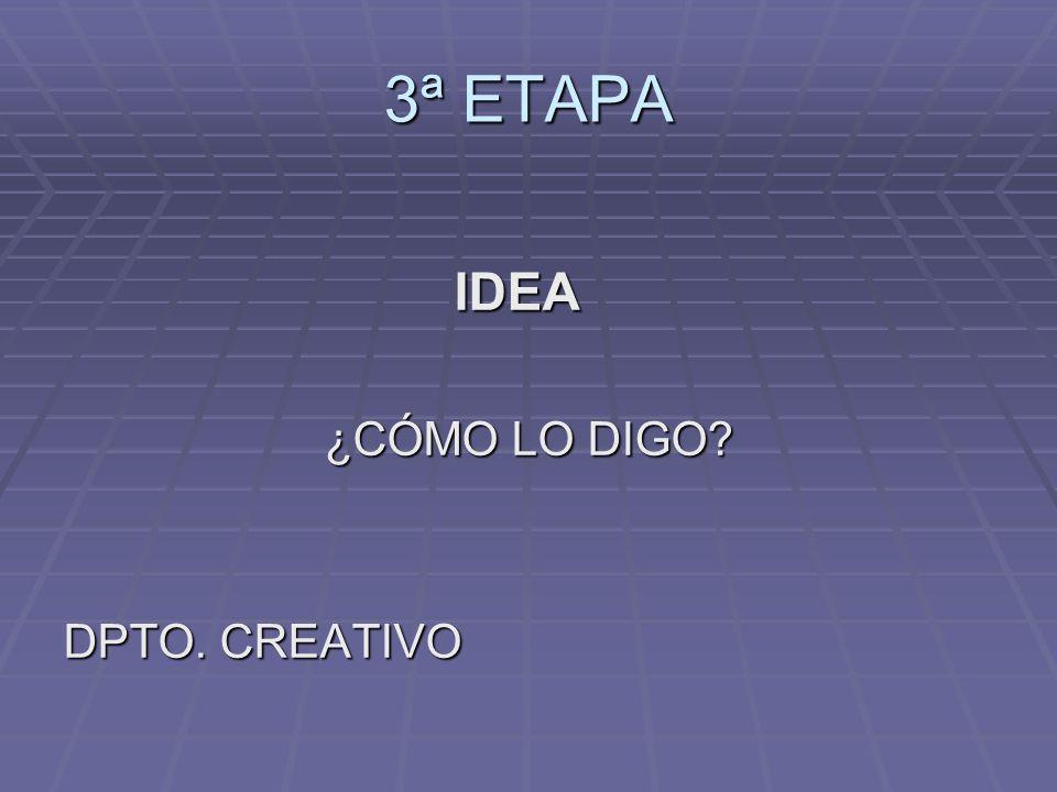 3ª ETAPA IDEA IDEA ¿CÓMO LO DIGO? ¿CÓMO LO DIGO? DPTO. CREATIVO