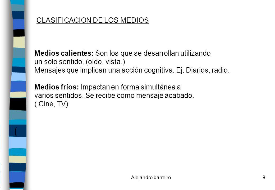 Alejandro barreiro9 SURGIMIENTO DE LOS MEDIOS MASIVOS DE COMUNICACIÓN TV ABIERTA.- Traslado del contexto palabra (impresa o radiotransmitida) al contexto de la imagen.