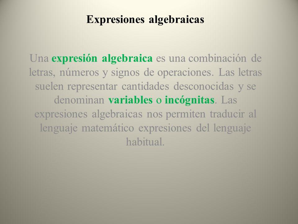 Expresiones algebraicas Una expresión algebraica es una combinación de letras, números y signos de operaciones. Las letras suelen representar cantidad