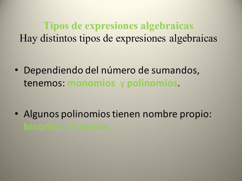Tipos de expresiones algebraicas Hay distintos tipos de expresiones algebraicas Dependiendo del número de sumandos, tenemos: monomios y polinomios. Al