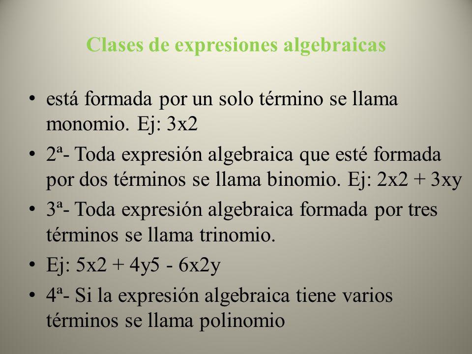 Clases de expresiones algebraicas está formada por un solo término se llama monomio. Ej: 3x2 2ª- Toda expresión algebraica que esté formada por dos té