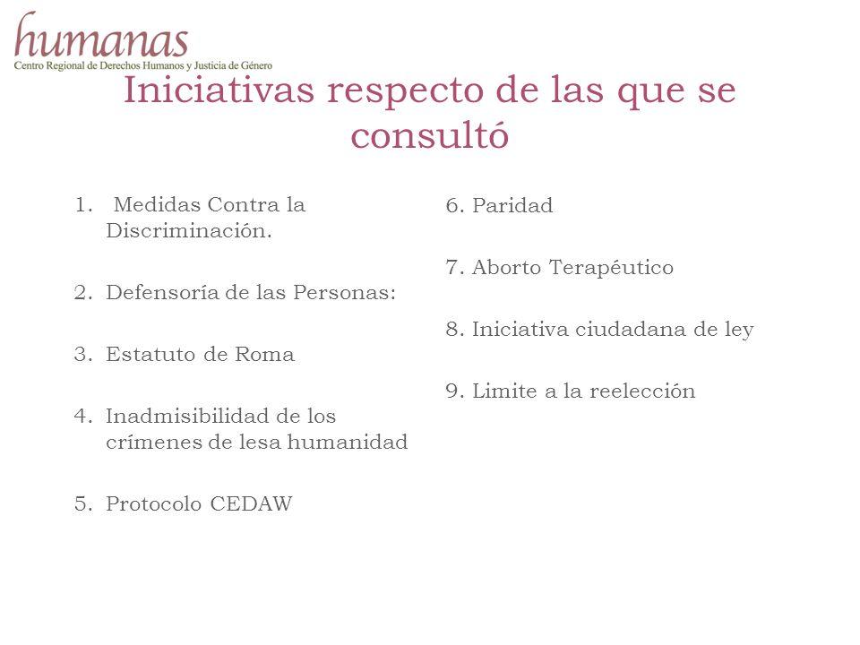 Iniciativas respecto de las que se consultó 1. Medidas Contra la Discriminación.