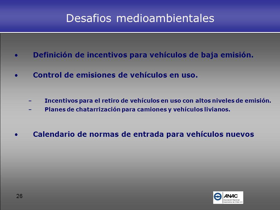 26 Desafios medioambientales Definición de incentivos para vehículos de baja emisión. Control de emisiones de vehículos en uso. –Incentivos para el re