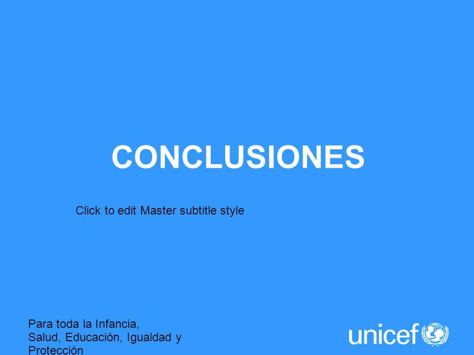 Click to edit Master subtitle style Para toda la Infancia, Salud, Educación, Igualdad y Protección ASI LA HUMANIDAD AVANZA CONCLUSIONES
