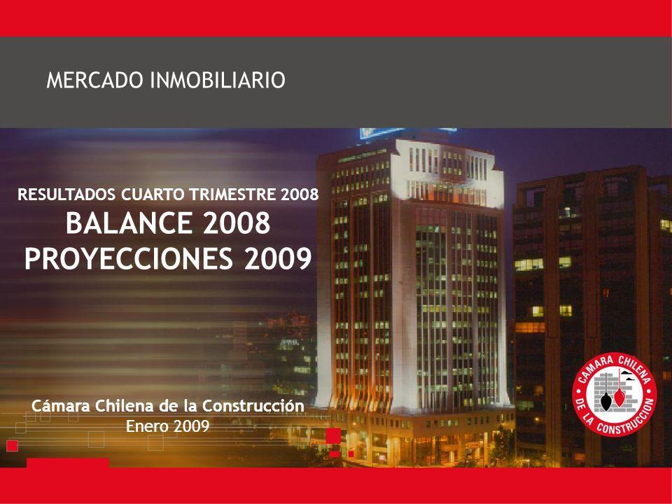 RESULTADOS CUARTO TRIMESTRE 2008 BALANCE 2008 PROYECCIONES 2009 Cámara Chilena de la Construcción Enero 2009 MERCADO INMOBILIARIO
