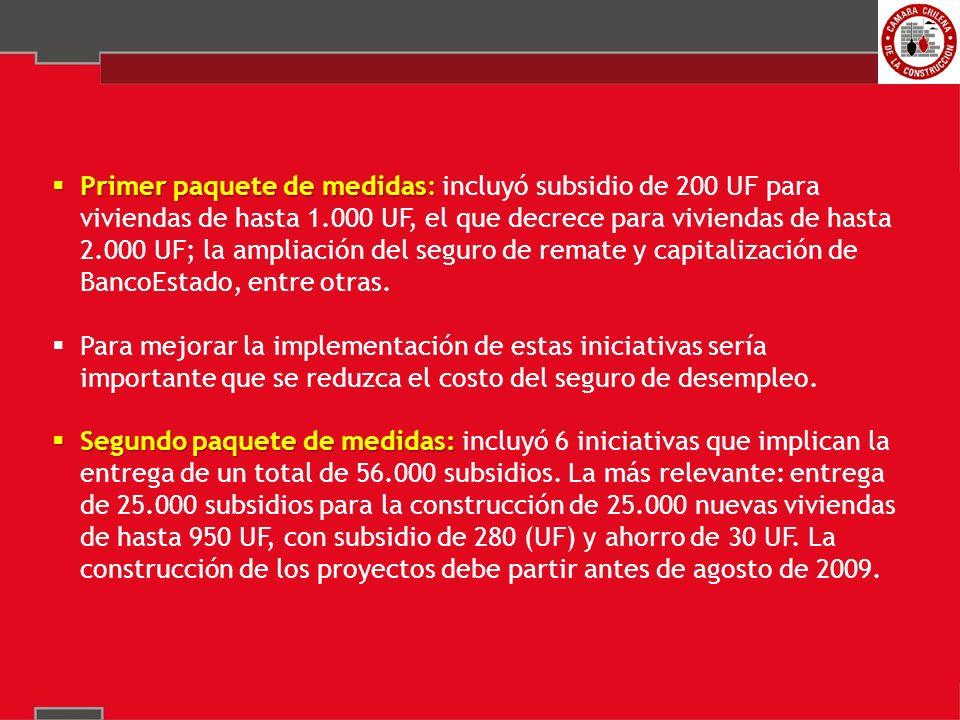 Primer paquete de medidas: Primer paquete de medidas: incluyó subsidio de 200 UF para viviendas de hasta 1.000 UF, el que decrece para viviendas de hasta 2.000 UF; la ampliación del seguro de remate y capitalización de BancoEstado, entre otras.