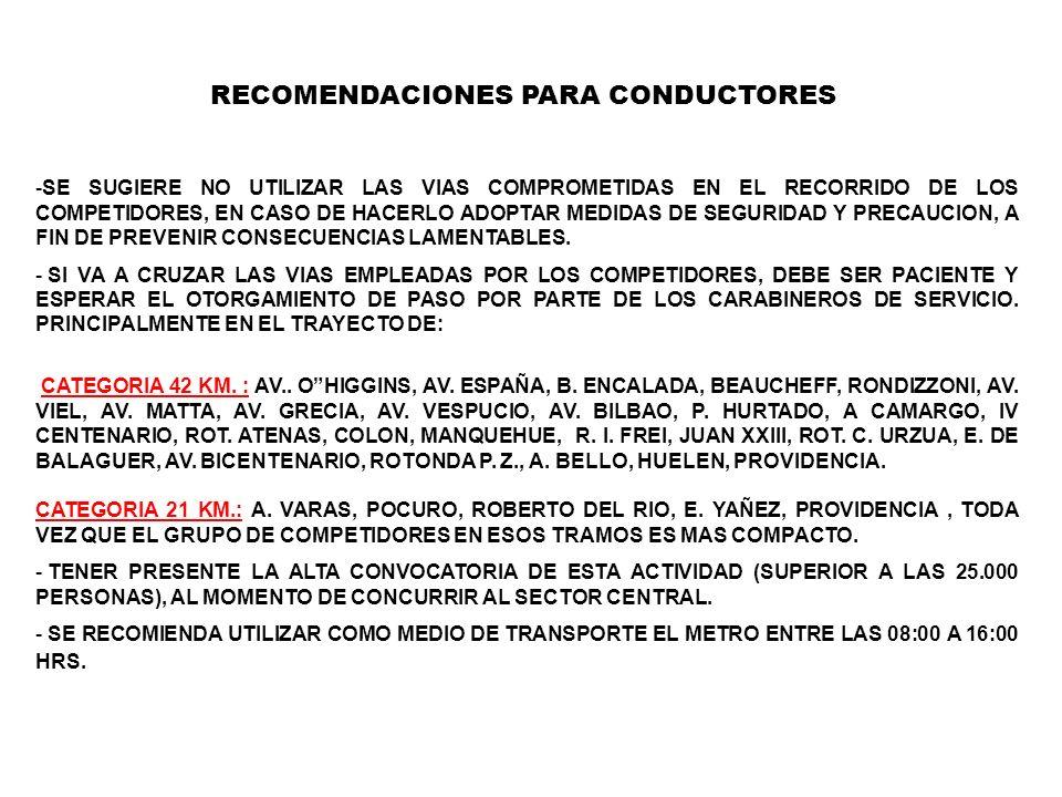 RECOMENDACIONES PARA CONDUCTORES -SE SUGIERE NO UTILIZAR LAS VIAS COMPROMETIDAS EN EL RECORRIDO DE LOS COMPETIDORES, EN CASO DE HACERLO ADOPTAR MEDIDA