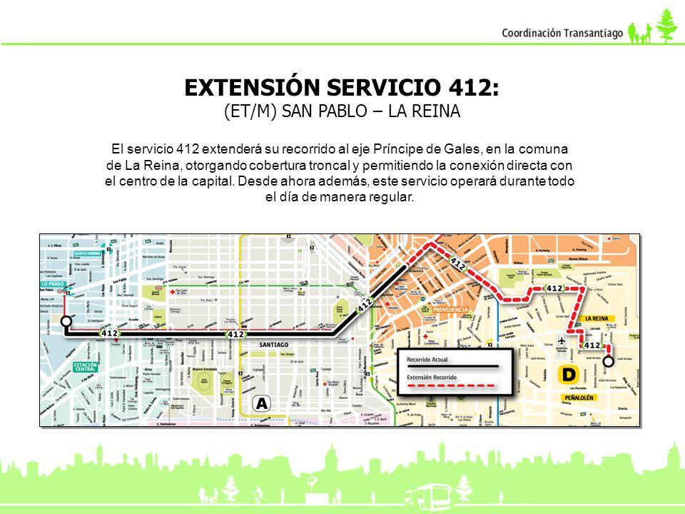 EXTENSIÓN SERVICIO 412: (ET/M) SAN PABLO – LA REINA El servicio 412 extenderá su recorrido al eje Príncipe de Gales, en la comuna de La Reina, otorgan